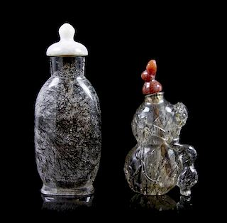 Two Hair Quartz Snuff Bottles, Height of taller bottle 2 3/4 inches.