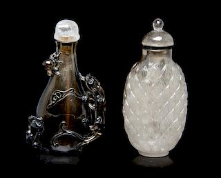 Two Quartz Snuff Bottles, Height of taller 2 5/8 inches.