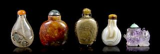 * A Group of Five Snuff Bottles, Height of tallest 2 3/8 inches.