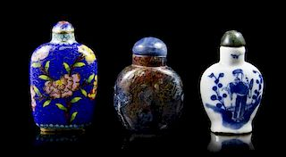 A Group of Three Snuff Bottles, Height overall of tallest 2 7/8 inches.
