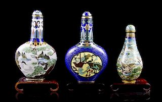 * Three Cloisonne Enamel Snuff Bottles, Height of tallest overall 3 7/8 inches.