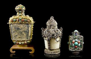 * Three Tibetan Metal Snuff Bottles, Height of tallest overall 4 3/4 inches.