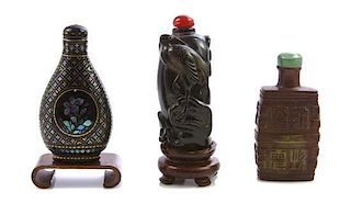 Three Snuff Bottles, Height of tallest overall 2 7/8 inches.