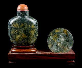 A Moss Agate Snuff Set, Height of bottle 2 5/8 inches.