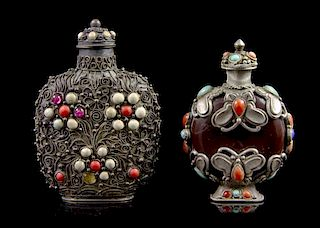 Two Stone Inlaid Snuff Bottles, Height of first overall 3 1/8 inches.