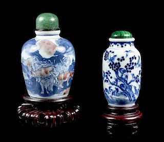 Two Ceramic Snuff Bottles, Height of tallest 2 1/2 inches.
