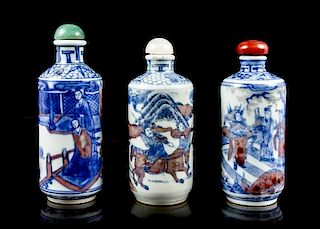 Three Ceramic Snuff Bottles, Height of each 3 1/8 inches.