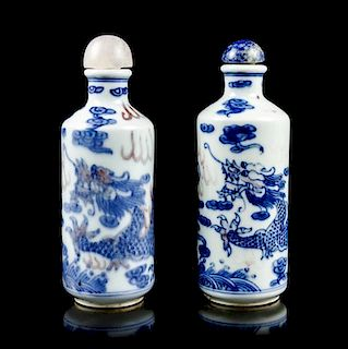 Two Ceramic Snuff Bottles, Height of each 4 inches.