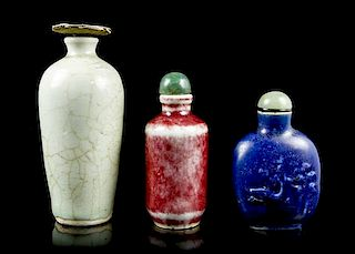 Three Glazed Ceramic Snuff Bottles, Height of tallest 3 3/4 inches.