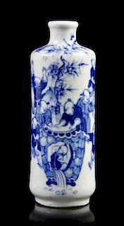 A Blue and White Cylindrical Snuff Bottle, Height of first 3 1/8 inches.