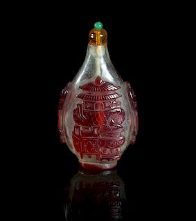 A Peking Glass Red Overlay Snuff Bottle, Height 3 inches.