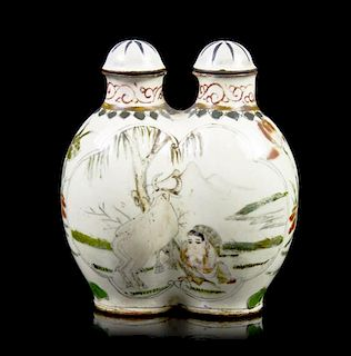 A Canton Enamel Double Snuff Bottle, Height 2 3/4 inches.