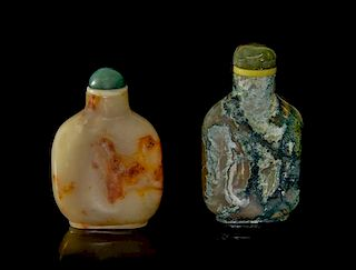 Two Stone Snuff Bottles, Height of first 2 1/4 inches.
