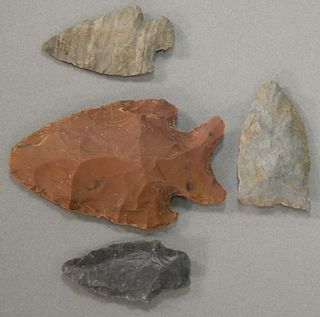 """Four Indian arrowheads to include """"Side Notch #2"""", """"Greenfield #1"""", """"Greenfield #3"""", and """"Side Notch #3"""". lg. 1 3/8in. to 2 3"""