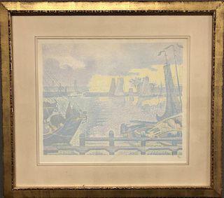 """Signac Signed Color Lithograph """"Les Bateaux ..."""""""