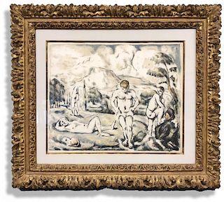 """Paul Cézanne Color Lithograph """"Les Baigneurs"""""""