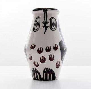 Large Pablo Picasso HIBOU MARRON NOIR Vase (A.R. 123)
