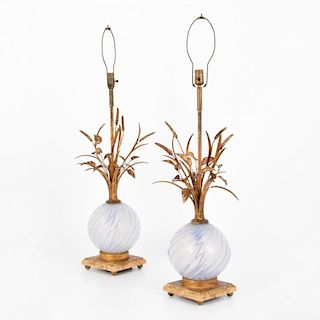 Pair of Lamps Attributed to Barovier & Toso, Murano