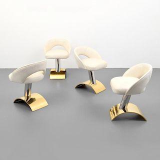 Set of 4 Swivel Chairs, Manner of Karl Springer