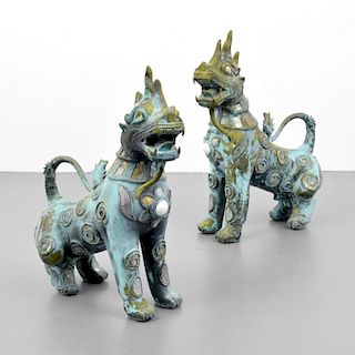 Pair of Large Foo Dogs Attributed to Karl Springer