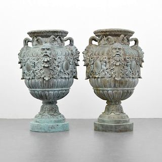 Pair of Large Classical Bronze Urns