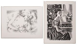Frede Vidar (American, 1911-1967) and Sigmund Menkes (American, 1896-1986), Two Lithographs