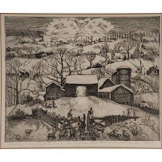 Nativity Scene in Winter Landscape Etching