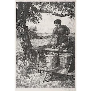 Lithograph of a Woman Picking Apples