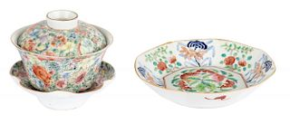 CHINESE FAMILLE ROSE PORCELAIN BOWL (LATE QING DYNASTY, 1821-1850) AND PORCELAIN COVERED TEA BOWL AND STAND WITH MILLEFEUILLE