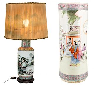 A CHINESE PORCELAIN LAMP AND UMBRELLA STAND (REPUBLIC PERIOD, 1912-1949)
