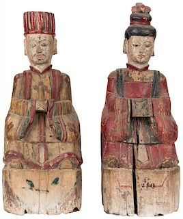 A PAIR OF CHINESE POLYCHROME DEITY SCULPTURES