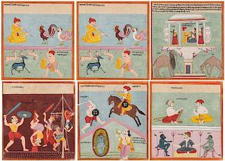 SIX 18TH C. INDIAN RAGAMALA PAINTINGS