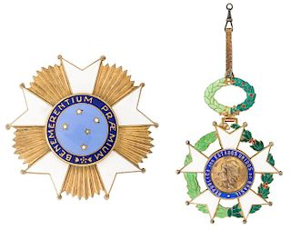 A PAIR OF ORDERS OF THE BRAZILIAN NATIONAL ORDER OF THE SOUTHERN CROSS