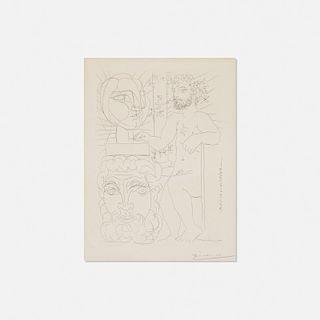 Pablo Picasso, Sculpteur et Deux Tetes sculptees from La Suite Vollard