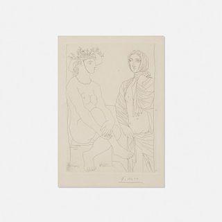 Pablo Picasso, Femme assise au Chapeau et Femme debout drapee from La Suite Vollard