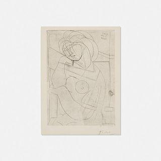 Pablo Picasso, Femme nue assise, la Tete appuyee sur la Main from La Suite Vollard