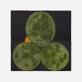 Donald Sultan, Three Old Limes and an Orange August 30 1988 (in four parts)
