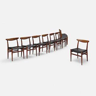 Hans J. Wegner, dining chairs, set of ten