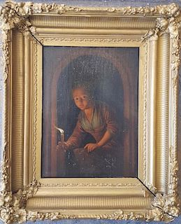 Dutch Old Master Painting Girl with Candle