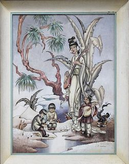 Asian Hollywood Regency Modernist James Mont style LARGE painting