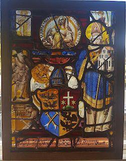 Swiss Renaissance Era Stained Glass  Heraldic Crest and Saints