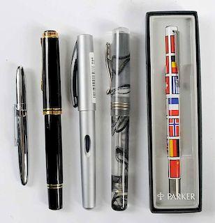 Five Fountain & Ballpoint Pens