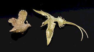 Two god bird pins