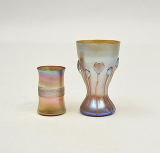 Two Tiffany gold Favrile vases