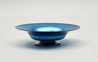 Tiffany blue Favrile art glass pedestal bowl