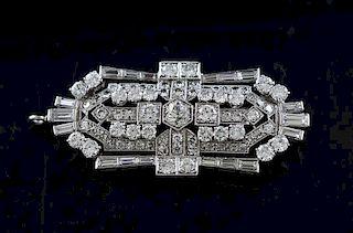 Antique platinum and diamond brooch or pendant