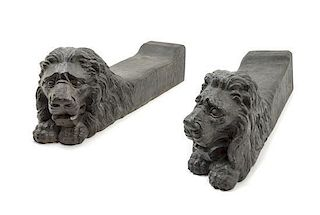 * A Pair of Italian Iron Andirons Length of each 27 3/8 inches.