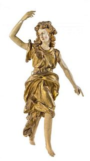 An Italian Painted and Parcel Gilt Figure Height 53 inches.