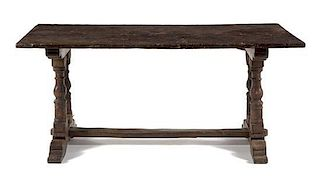 * An Italian Walnut Refectory Table Height 30 x width 67 3/4 x depth 28 3/4 inches.