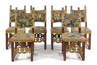 * A Set of Six Italian Baroque Parcel Gilt Walnut Side Chairs Height 44 3/4 inches.